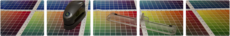 Colour swatches being measured